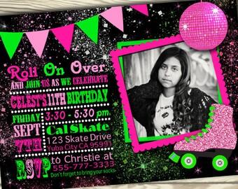 Roller Skating Invitation / Pink and Green / Roller Skating Party / Party Invitation