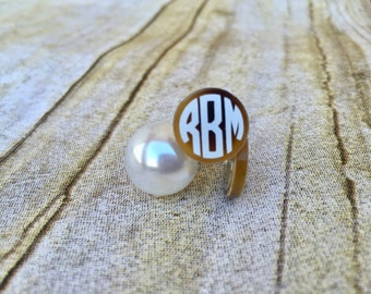 Bridesmaid Gift, Pearl Stud Earrings, Peekaboo Earrings, Monogram Earrings, Pearl Back Earrings, Wedding Jewelry, Bridesmaid Earrings, Bride