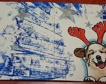 Viva les Puppies! Mixed media Great Pyrenees Holiday Cards
