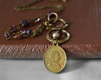 Antique Catholic Medal, Religious Catholic Jewelry, Pope Gregory XVI, Brass Catholic Necklace, Catholic Religious Medallion, Catholic gifts