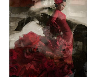 Flamenco Spanish Goddess, abstract, digital print, photomontage, digital art, Spanish dancer, fine art, modern art, contemporary, home decor