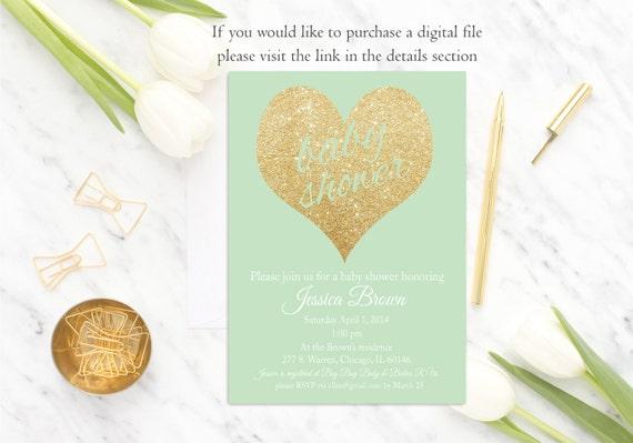 Mint Baby Shower Invitation Gender Neutral Baby Shower Invitation, Gold Glitter, Mint Gold Baby Shower Invite, Digital or Printed