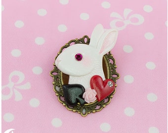 Follow the White Rabbit Brooch