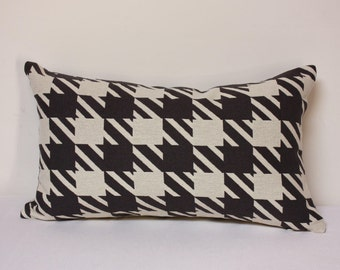 Checker pillow, Off white and black lumbar pillow, checker lumbar pillow, black and white pillow