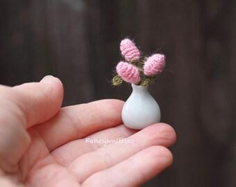 Lilac bouquet in white ceramic vase light pink dollhouse crochet flowers 1/12 scale miniature decor micro amigurumi plants interior collect