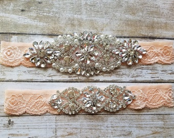 Sale -Wedding Garter and Toss Garter-Crystal Rhinestones -  BLUSH Garter Set - Style G20908BLU