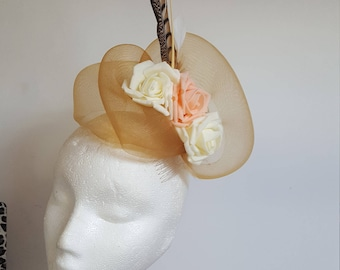 Gold Fascinator Hat with Roses and Feathers for Wedding,Ascot,Proms