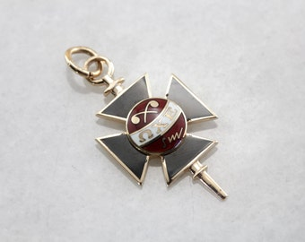 Enameled Iron Cross FOB or Pendant with Greek Letters 6WPQVY-P