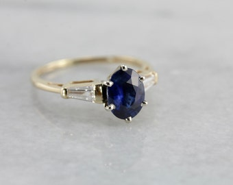 Sapphire and Diamond Anniversary or Engagement Ring 3U0VD9-D