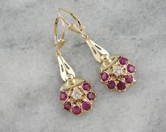 Vintage Ruby and Diamond Earrings, Ruby and Diamond Clusters, Vintage Dangle Earrings ZDJ065-N