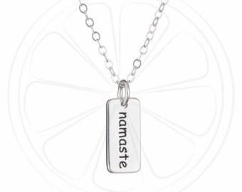 Namaste Necklace, Yoga Necklace, Namaste Jewelry, Yoga Gift, Sterling Silver, Jewelry, Jewellery,Disco Lemonade,Gift Best Friend, Birthday,
