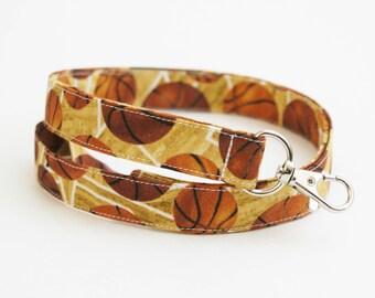 Fabric Lanyard - Basketball Coach Gift - Men's Sport Key Lanyard - Coach Lanyard - 3/4 Inch Wide Strap - 15.5-19.5 Inch Drop