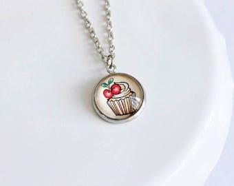 Adorable Retro Style Cupcake Cameo Necklace