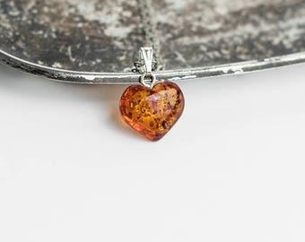 Heart amber necklace / Cognac amber pendant