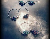 Rainbow Titanium Pyrite Crystal Druzy Bead Hoop Earrings