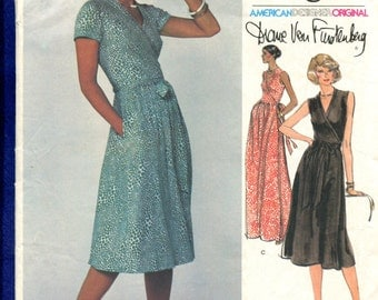 1970's Vogue 1610 Diane Von Furstenburg Classic Wrap Dress with Deep V Neckline Size 10 UNCUT