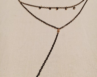 Black and Gold Double Necklace