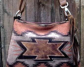 Native American Style  Wool and  Leather Purse Pendleton Wool  Bag