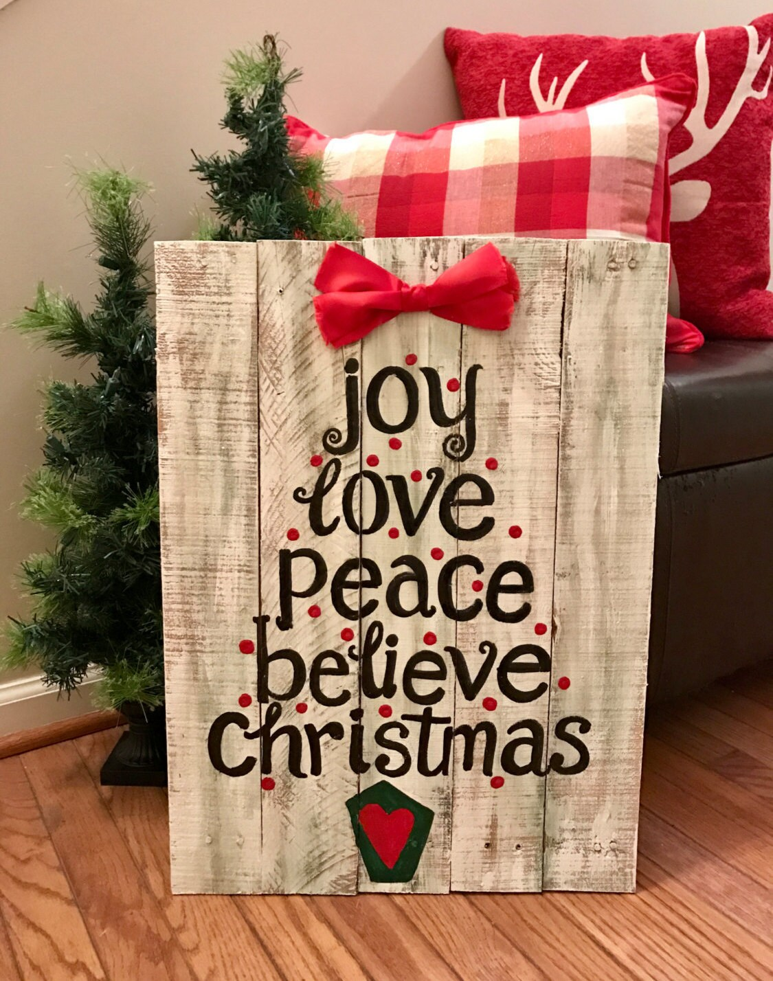 hand painted wooden joy love peace believe christmas sign