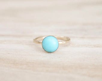 Turquoise shimmer stacking ring, turquoise stacking ring, stacking ring, gold ring, dainty gold ring, turquoise ring, gold stacking ring