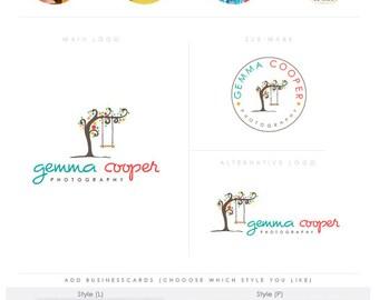 whimsical happy tree -  Premade Photography Logo and Watermark, Classic Elegant Script Font TREE children , photography branding kit