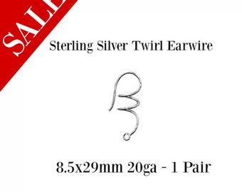 SALE - Sterling Silver Twril Earwire - Sterling Findings - Jewelry Findings - 8.5x29mm 20ga  - 1 Pair - Earring Findings - Ear Wires