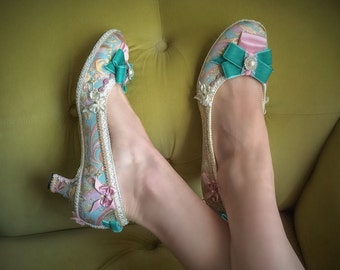 Marie Antoinette Costume Heels Shoes Teal Blue Velvet Ivory Pearl Rococo Baroque Fantasy Pumps Brocade Gold & Rose Pink Satin Low Round Toe