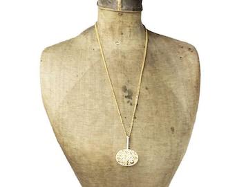 Large Gold Pendant Necklace, Gold Modernist Necklace, Gold Modernist Pendant, Long Gold Chain with Gold Pendant