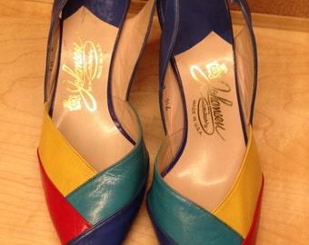 Color block pumps Johansen Leather shoes Multi Color Vintage Size 7.5 New Old Stock