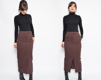 Vintage 90's Brown Slit Skirt / High Waisted Maxi Skirt / Brown Maxi Stright Skirt - Size Extra Small