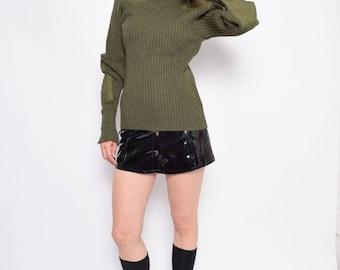 Vintage 80s' Military Khaki Wool Sweater / Army Green Ribbed Sweater / Olive Green Wool Sweater -