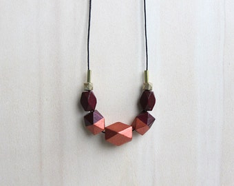 wooden geometric necklace maroon, copper, hand painted statement necklace for her, elegant everyday necklace