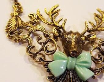 Deer Necklace, deer jewelry, nature necklace, nature jewelry,  Statement Necklace, festival jewelry,gipsy necklace,happy necklace,jovanella
