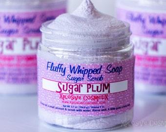 Fluffy Whipped Soap Sugar Scrub - Sugar Plum - 4 oz. - Vegan Friendly