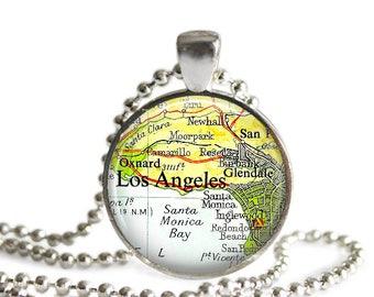 Los Angeles map necklace vintage LA pendant retro travel gift California jewelry.