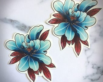 Blue Peony Temporary Tattoo Original Illustration Japanese Kimono Style Asian Flower Floral Blossom Lotus Watercolor Nature Medium Chinese