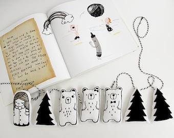 Goldilocks and the Three Bears - Monochrome Nursery - Monochrome Garland - Nursery Decor - Gift for Kids