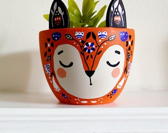 Fox Plant Pot - Fox Planter - Small Ceramic Planter - Modern Planter - Orange Fox Plant Pot