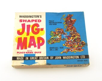 Vintage Waddingtons Jig Map, Jigsaw, British Isles, No. 560. Complete, 1970, fully interlocking, vari piece. Made in Great Britain. Jig-map