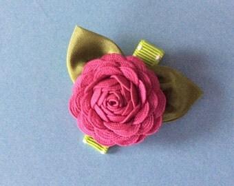 Rasberry Pink Ric Rac Rose Hair Clip