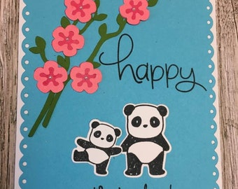 Happy Mother's day card-Handmade Mother's day card-Panda card-Mom card-Floral Mother's Day card