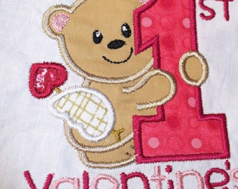 Baby's first Valentine's body suit, shirt, bib or burpcloth. Custom colors available.