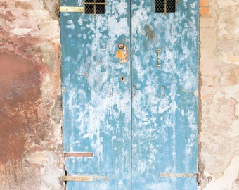 Venice, Italy Photography, Blue Doors, Old Italian Architecture