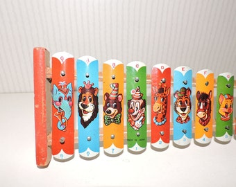 Antique Animal Xylophone Toy Litho Tin and Wood