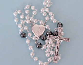 Locket Center Rosary, White w/ Hematite *Christian,Catholic,prayer,chaplet,new mom,religious,memorial,for her,grandmothers,crucifix,unique