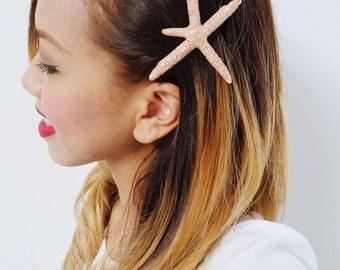 Coral Pink Starfish Barrette - Bridal Accessories, Wedding Hair Clip, Ariel Mermaid Barrette, Starfish Hair Clip, Sparkle Hair Accessory