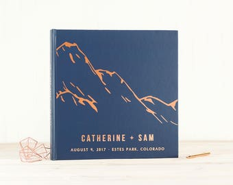 Navy and Rose Gold Wedding Guest Book with Real Rose Gold Foil guestbook 12x12 wedding photo book Mountains instant photo book hardcover