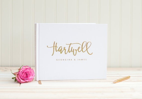 Wedding Guest Book landscape horizontal wedding album with Real Gold Foil personalized names hardcover guestbook planner instant photo booth