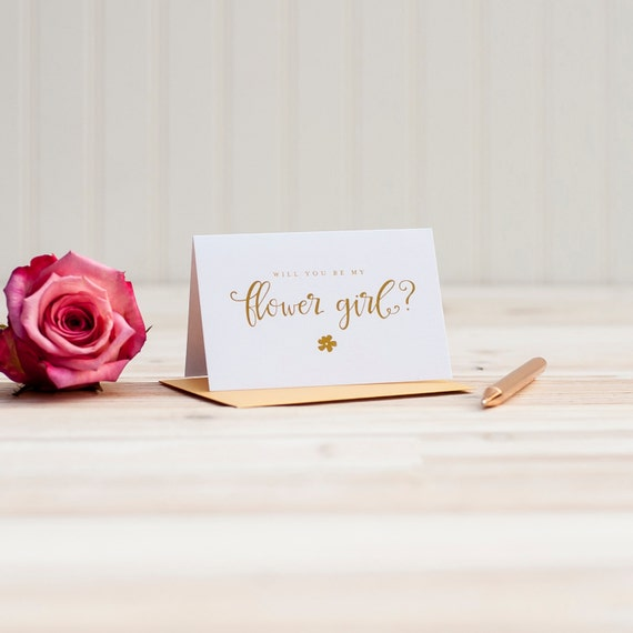 Gold Foil Will You Be My Flower Girl card bridal party card foil stamped notecard wedding party card bridal party flower girl invitation