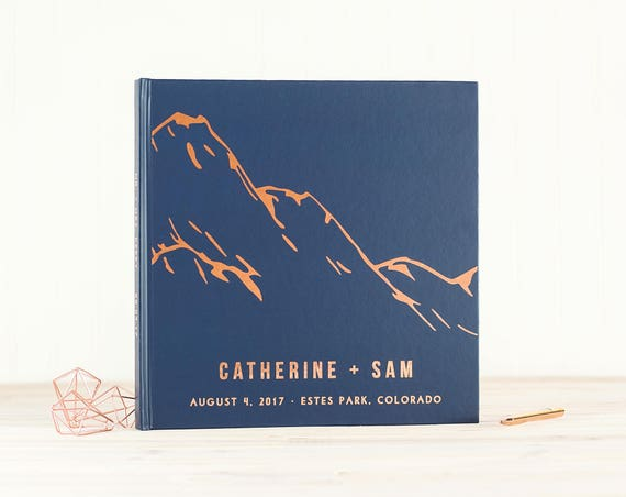 Navy and Rose Gold Wedding Guest Book with Real Rose Gold Foil guestbook 12x12 wedding photo album Mountains instant photo book hardcover